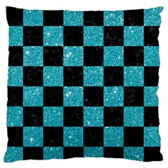 Square1 Black Marble & Turquoise Glitter Large Flano Cushion Case (two Sides)