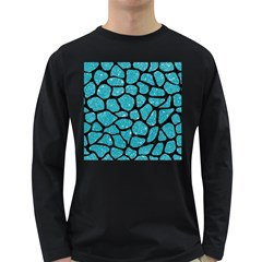 Skin1 Black Marble & Turquoise Glitter (r) Long Sleeve Dark T Shirts