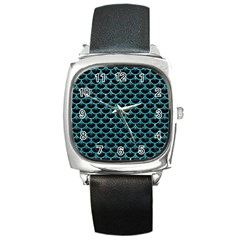 Scales3 Black Marble & Turquoise Glitter (r) Square Metal Watch