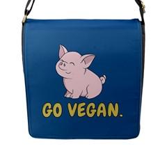 Go Vegan   Cute Pig Flap Messenger Bag (l)