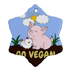 Go Vegan   Cute Pig And Chicken Ornament (snowflake)