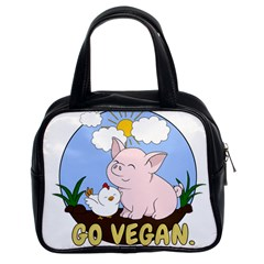 Go Vegan   Cute Pig And Chicken Classic Handbags (2 Sides)