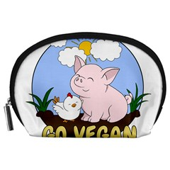 Go Vegan   Cute Pig And Chicken Accessory Pouches (large)