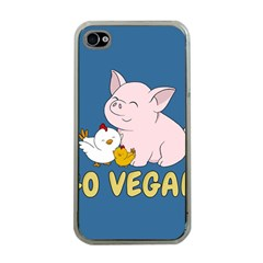 Go Vegan   Cute Pig And Chicken Apple Iphone 4 Case (clear)