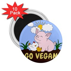 Go Vegan   Cute Pig And Chicken 2 25  Magnets (10 Pack)