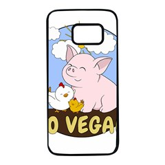 Go Vegan   Cute Pig And Chicken Samsung Galaxy S7 Black Seamless Case