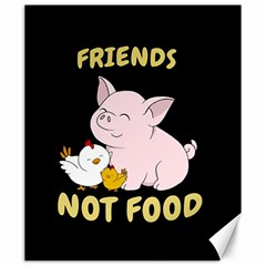 Friends Not Food   Cute Pig And Chicken Canvas 20  X 24