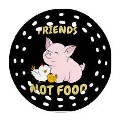 Friends Not Food   Cute Pig And Chicken Ornament (round Filigree)