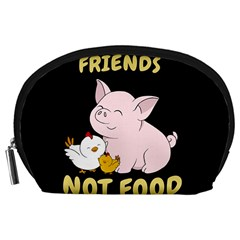 Friends Not Food   Cute Pig And Chicken Accessory Pouches (large)