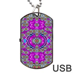 Spring Time In Colors And Decorative Fantasy Bloom Dog Tag Usb Flash (one Side)