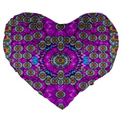 Spring Time In Colors And Decorative Fantasy Bloom Large 19  Premium Heart Shape Cushions