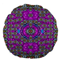 Spring Time In Colors And Decorative Fantasy Bloom Large 18  Premium Flano Round Cushions