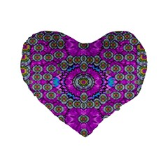 Spring Time In Colors And Decorative Fantasy Bloom Standard 16  Premium Flano Heart Shape Cushions