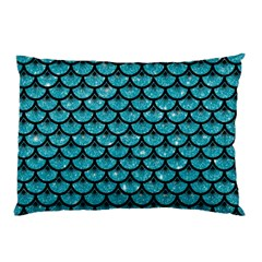 Scales3 Black Marble & Turquoise Glitter Pillow Case