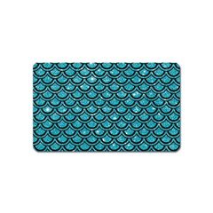 Scales2 Black Marble & Turquoise Glitter Magnet (name Card)