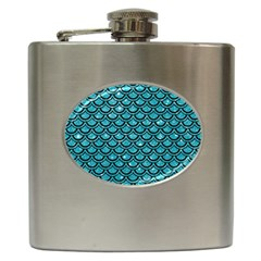 Scales2 Black Marble & Turquoise Glitter Hip Flask (6 Oz)