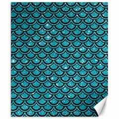 Scales2 Black Marble & Turquoise Glitter Canvas 20  X 24