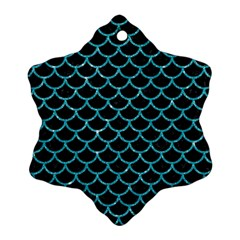 Scales1 Black Marble & Turquoise Glitter (r) Ornament (snowflake)