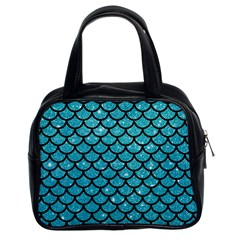 Scales1 Black Marble & Turquoise Glitter Classic Handbags (2 Sides)
