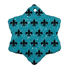 Royal1 Black Marble & Turquoise Glitter (r) Ornament (snowflake)