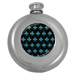 Royal1 Black Marble & Turquoise Glitter Round Hip Flask (5 Oz)