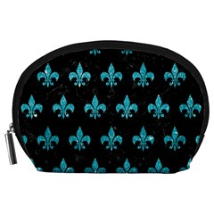 Royal1 Black Marble & Turquoise Glitter Accessory Pouches (large)