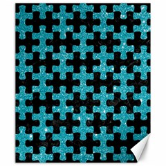Puzzle1 Black Marble & Turquoise Glitter Canvas 20  X 24