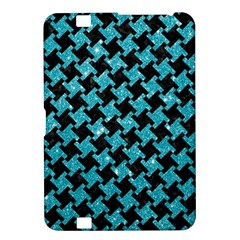 Houndstooth2 Black Marble & Turquoise Glitter Kindle Fire Hd 8 9