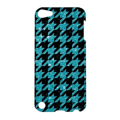 Houndstooth1 Black Marble & Turquoise Glitter Apple Ipod Touch 5 Hardshell Case