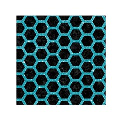 Hexagon2 Black Marble & Turquoise Glitter (r) Small Satin Scarf (square)