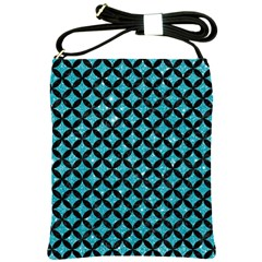 Circles3 Black Marble & Turquoise Glitter Shoulder Sling Bags