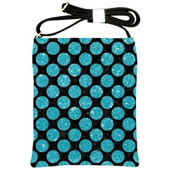 Circles2 Black Marble & Turquoise Glitter (r) Shoulder Sling Bags