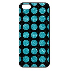 Circles1 Black Marble & Turquoise Glitter (r) Apple Iphone 5 Seamless Case (black)
