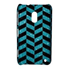 Chevron1 Black Marble & Turquoise Glitter Nokia Lumia 620