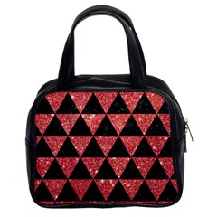 Triangle3 Black Marble & Red Glitter Classic Handbags (2 Sides)