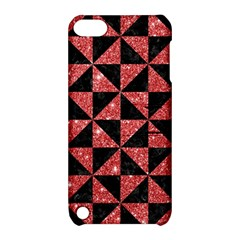 Triangle1 Black Marble & Red Glitter Apple Ipod Touch 5 Hardshell Case With Stand