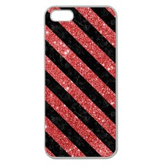 Stripes3 Black Marble & Red Glitter Apple Seamless Iphone 5 Case (clear)