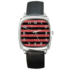 Stripes2black Marble & Red Glitter Square Metal Watch