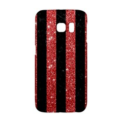 Stripes1 Black Marble & Red Glitter Galaxy S6 Edge