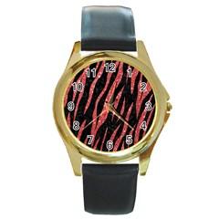 Skin3 Black Marble & Red Glitter (r) Round Gold Metal Watch