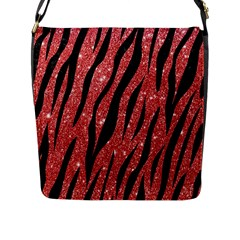 Skin3 Black Marble & Red Glitter Flap Messenger Bag (l)