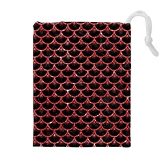 Scales3 Black Marble & Red Glitter (r) Drawstring Pouches (extra Large)