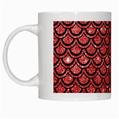 Scales2 Black Marble & Red Glitter White Mugs