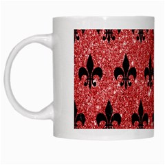 Royal1 Black Marble & Red Glitter (r) White Mugs