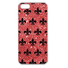 Royal1 Black Marble & Red Glitter (r) Apple Seamless Iphone 5 Case (clear)