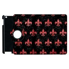 Royal1 Black Marble & Red Glitter Apple Ipad 2 Flip 360 Case