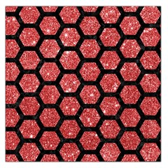 Hexagon2 Black Marble & Red Glitter Large Satin Scarf (square)