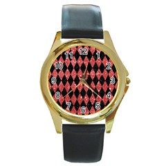 Diamond1 Black Marble & Red Glitter Round Gold Metal Watch