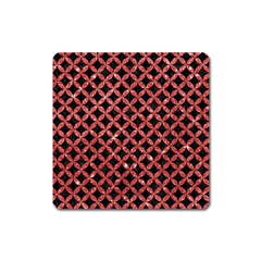 Circles3 Black Marble & Red Glitter (r) Square Magnet