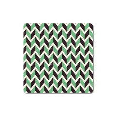 Zigzag Chevron Pattern Green Black Square Magnet